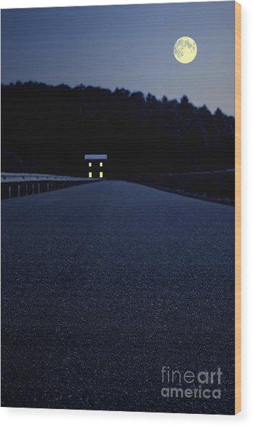 Lights On Up Ahead Wood Print