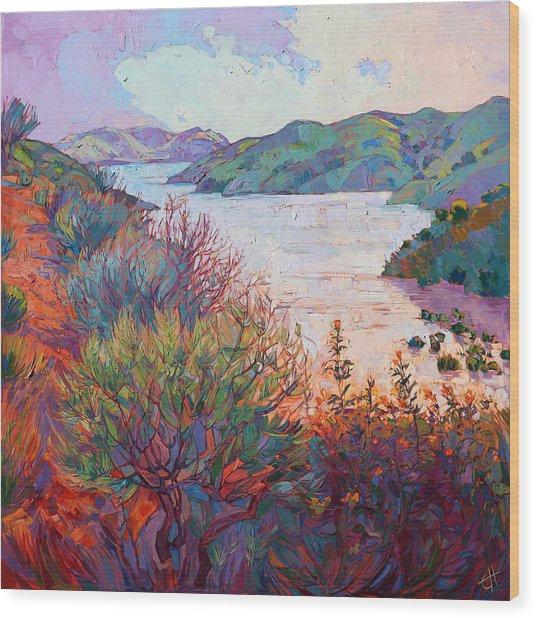 Lights On Whale Rock Wood Print by Erin Hanson