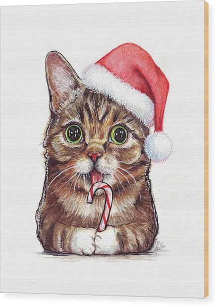 Cat Santa Christmas Animal Wood Print