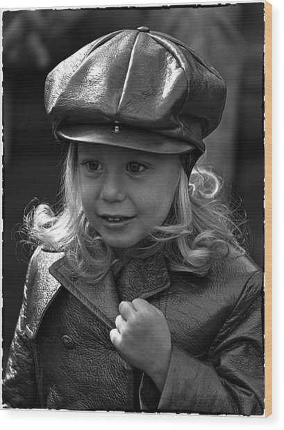 Lil Miss Leather Wood Print by Hal Norman K