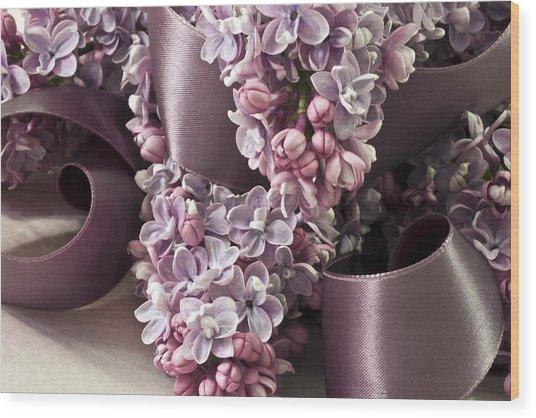 Lilac And Ribbon Curls Wood Print