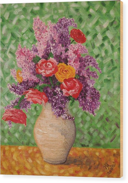Lilac And Roses Wood Print