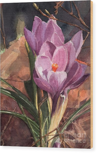 Lilac Crocuses Wood Print