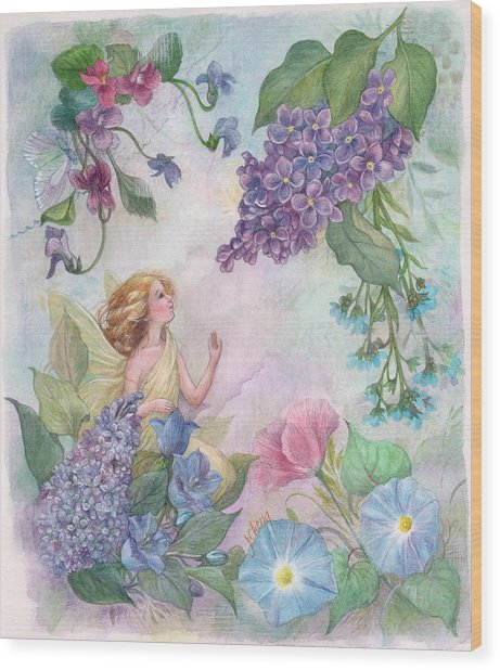 Lilac Enchanting Flower Fairy Wood Print