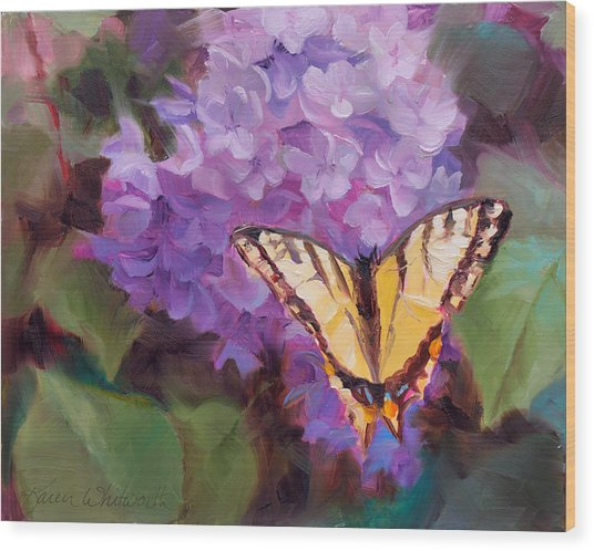 Lilacs And Swallowtail Butterfly Purple Flowers Garden Decor Painting  Wood Print