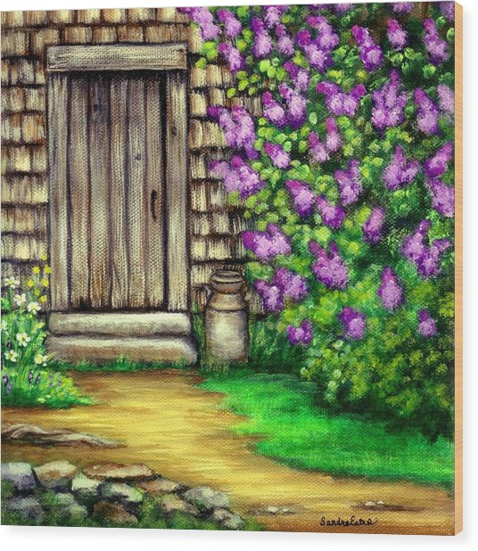 Lilacs By The Barn Wood Print
