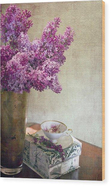 Lilacs In Vase 3 Wood Print