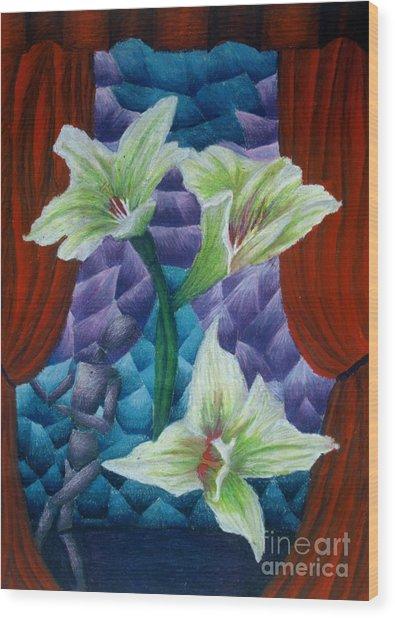 Lilies Wood Print by Coriander  Shea
