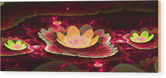 Lilies On Lava Bed Wood Print by Ester  Rogers