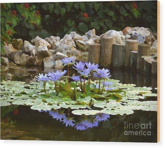 Lilies On The Pond Wood Print