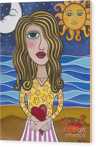 Wood Print featuring the painting Lilly Loves Florida by Carla Bank