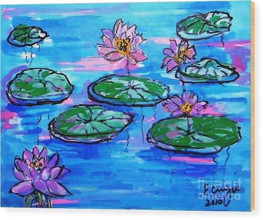 Lily Pond Blues Wood Print