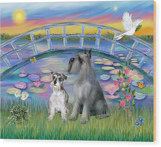 Lily Bridge With Two Schnauzers Wood Print