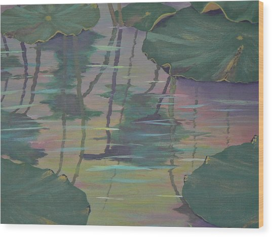 Lily Pad Reflections Wood Print