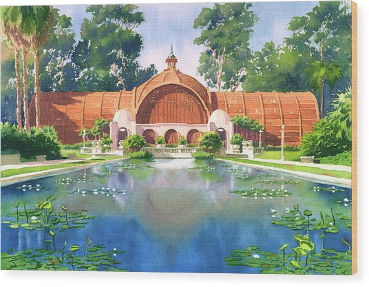 Lily Pond And Botanical Garden Wood Print