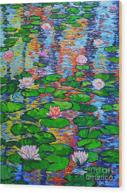 Lily Pond Colorful Reflections Wood Print