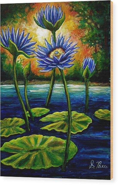 Lilys And Lotus Wood Print by Sebastian Pierre