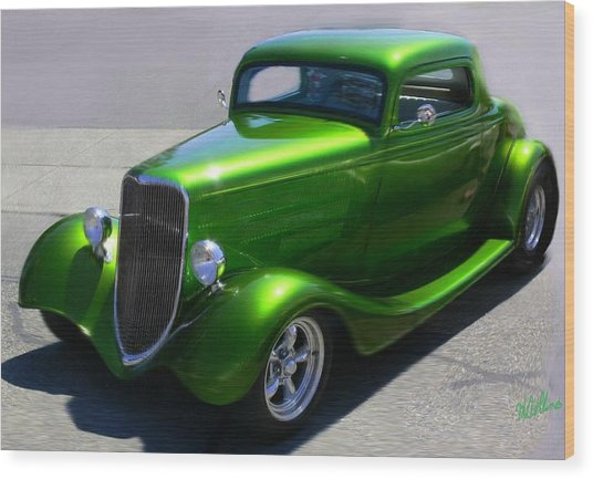 Lime Green Auto  Wood Print
