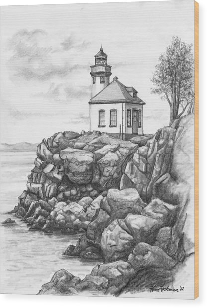 Lime Kiln Lighthouse Wood Print