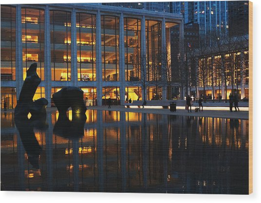 Lincoln Center Gold Wood Print