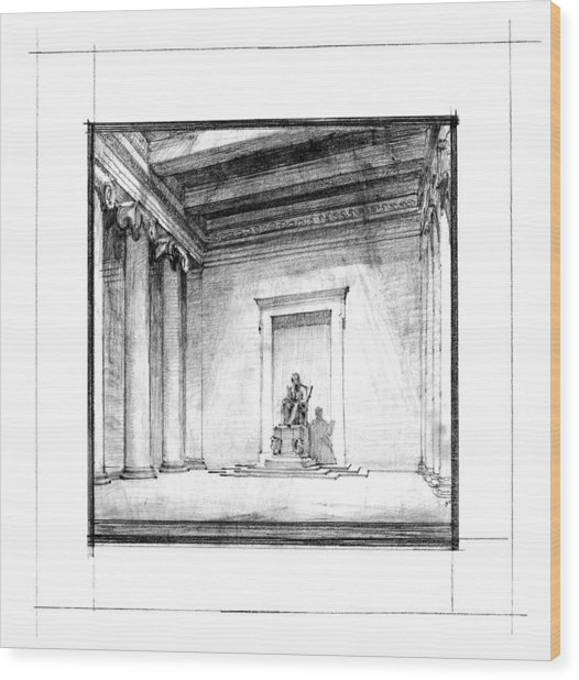Lincoln Memorial Sketch IIi Wood Print