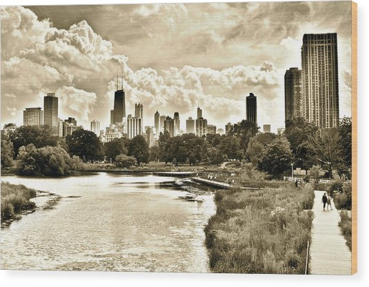 Lincoln Park View Sepia Wood Print