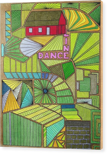 Line Dance Wood Print
