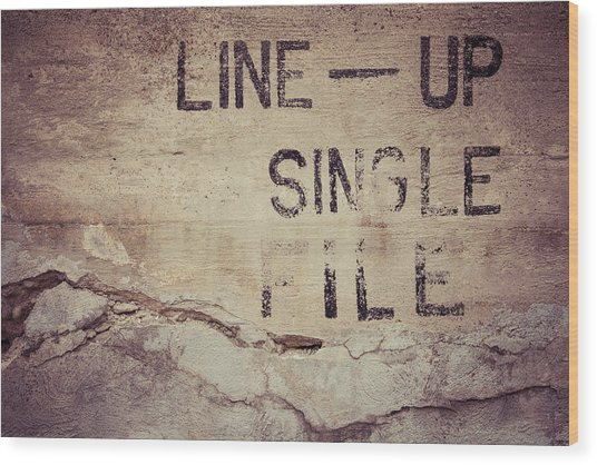 Line Up Single File Wood Print