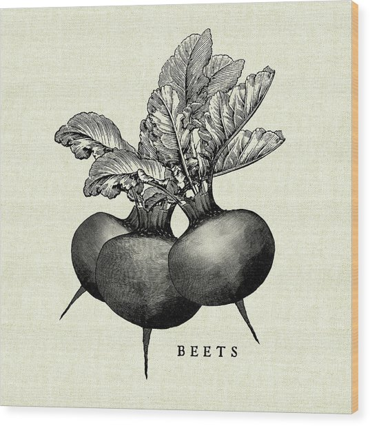 Linen Vegetable Bw Sketch Beets Wood Print by Studio Mousseau