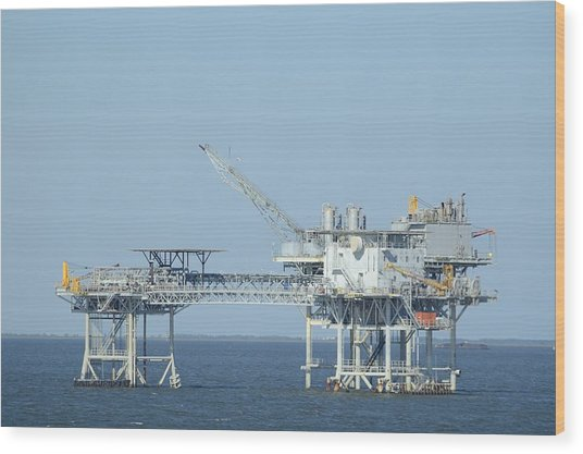 Linked Oil Platforms Wood Print