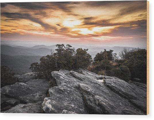 Linville Gorge Sunrise Wood Print