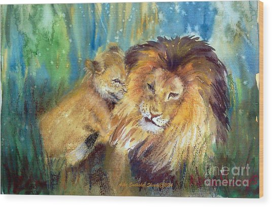 Lion And Cub -2 Wood Print