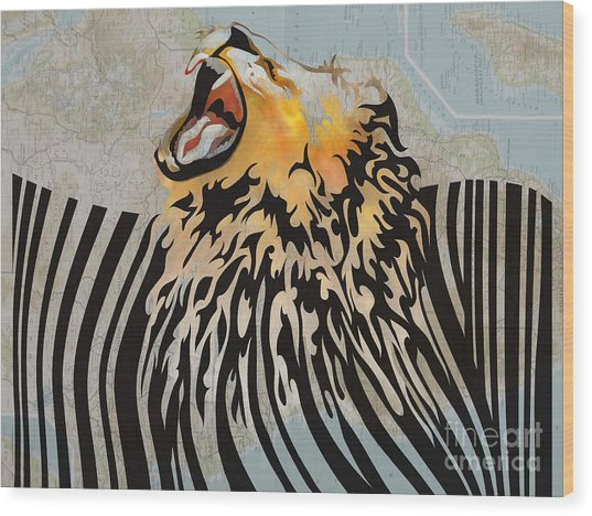Lion Barcode Wood Print