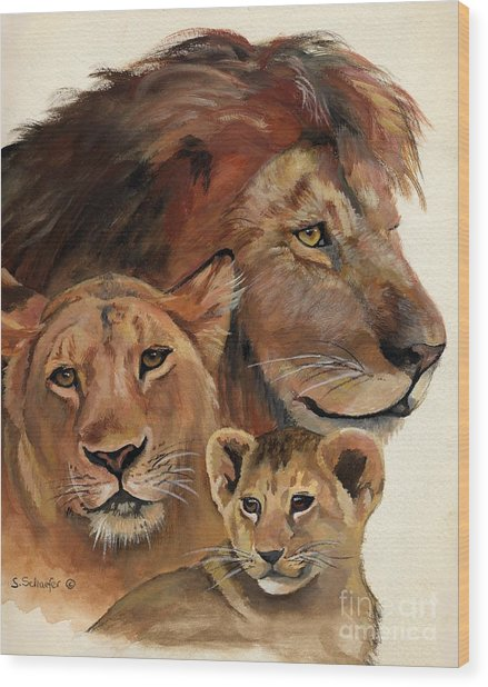 Lion Family Portrait Wood Print