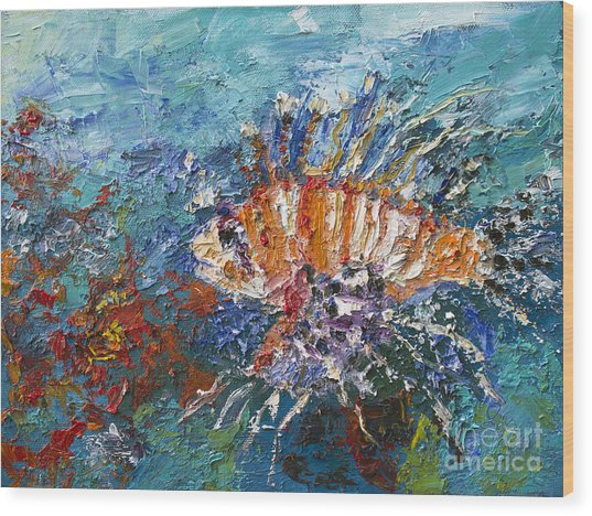 Lion Fish Red Coral Oil Painting Painting By Ginette Callaway