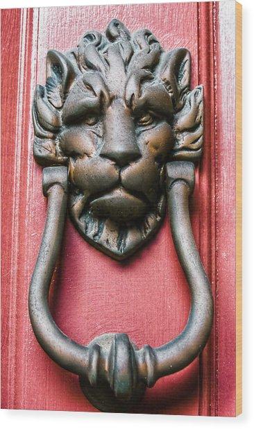 Lion Head Door Knocker Wood Print