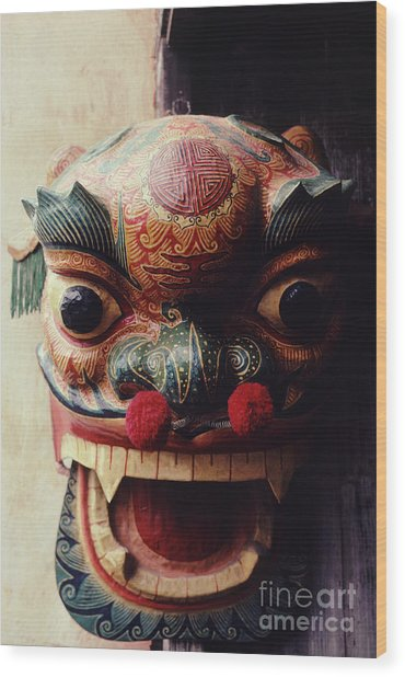 Lion Mask For Chinese New Year Wood Print
