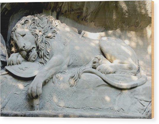 Lion Monument In Lucerne Switzerland Wood Print