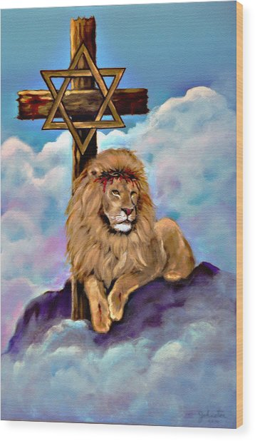 Lion Of Judah At The Cross Wood Print