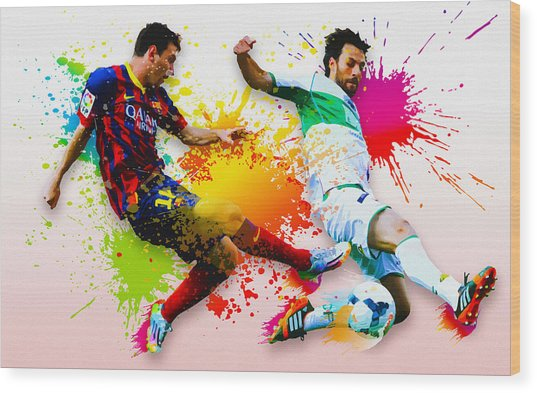 Lionel Messi Of Fc Barcelona Wood Print