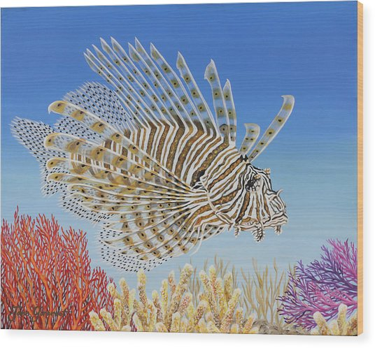 Lionfish And Coral Wood Print