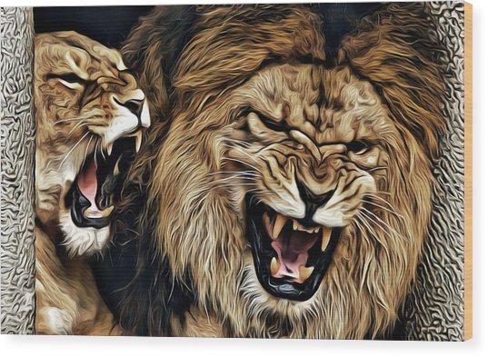 Lions Wood Print