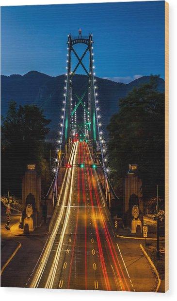 Lion's Gate Bridge Vancouver B.c Canada Wood Print by Pierre Leclerc Photography
