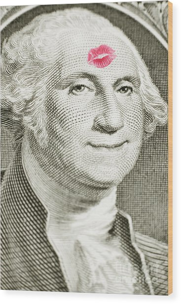 Lipstick Kiss On One Dollar Bill Wood Print