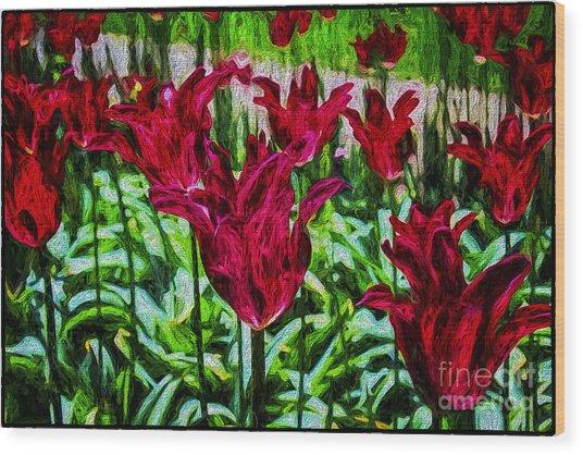 Lipstick Tulips Wood Print