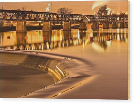 Liquid Gold - Former Tulsa Pedestrian Bridge  Wood Print