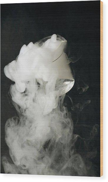 Liquid Nitrogen Being Poured From Beaker Wood Print