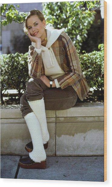 Lisa Taylor Wearing Leg Warmers Wood Print