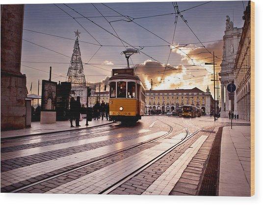 Lisbon Light Wood Print