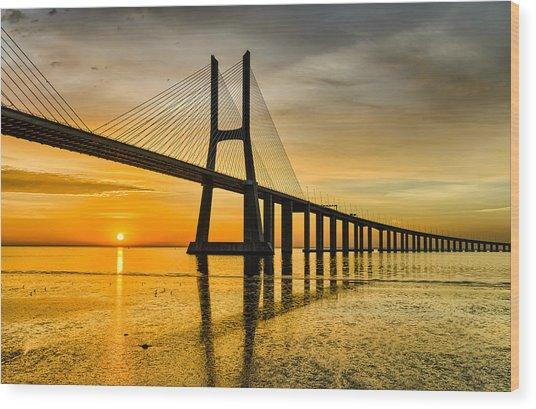 Lisbon Sunrise Wood Print by Michael Abid